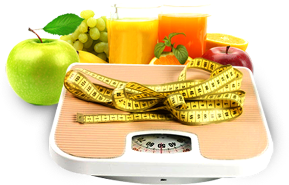 selection of fruit, fruit juices, weighing scales and measuring tape