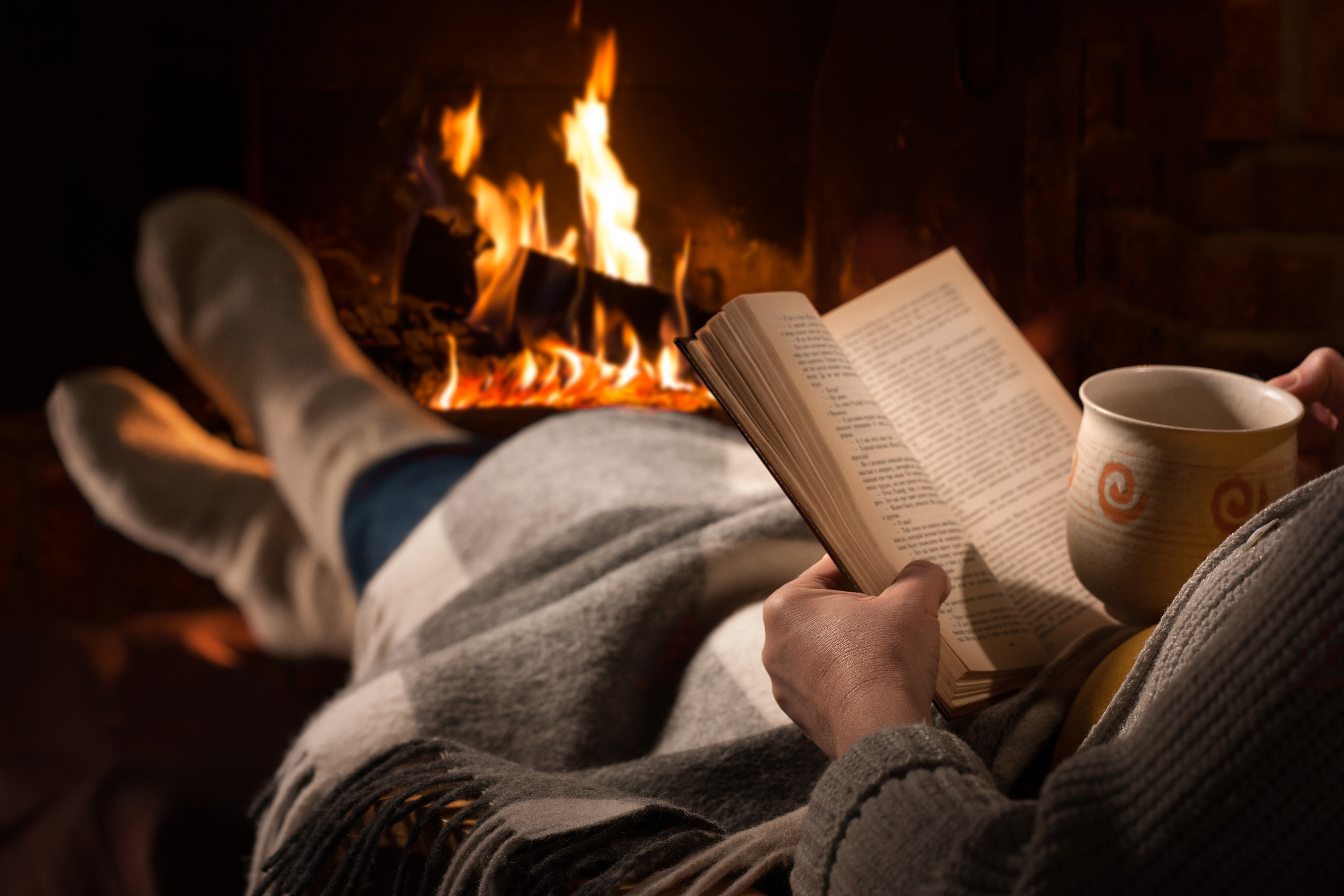Reading in front of the fire Christmas